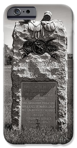 Brigade iPhone Cases - Gettysburg National Park 12th Illinois Cavalry Monument iPhone Case by Olivier Le Queinec