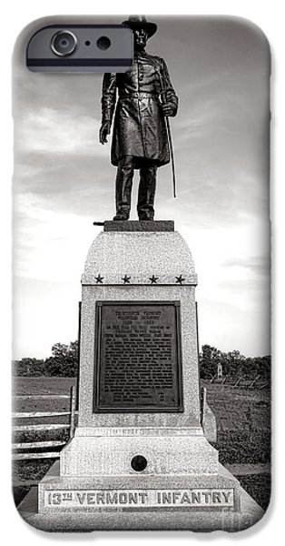 War iPhone Cases - Gettysburg National Park 13th Vermont Infantry Monument iPhone Case by Olivier Le Queinec