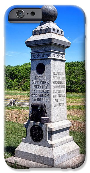 Regiment iPhone Cases - Gettysburg National Park 147th New York Infantry Memorial iPhone Case by Olivier Le Queinec