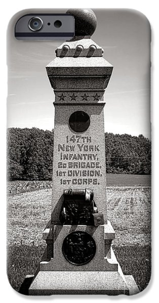 Brigade iPhone Cases - Gettysburg National Park 147th New York Infantry Monument iPhone Case by Olivier Le Queinec