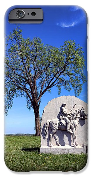 Regiment iPhone Cases - Gettysburg National Park 17th Pennsylvania Cavalry Memorial iPhone Case by Olivier Le Queinec