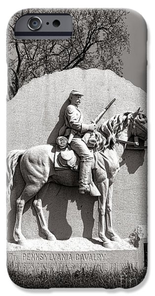 Regiment iPhone Cases - Gettysburg National Park 17th Pennsylvania Cavalry Monument iPhone Case by Olivier Le Queinec