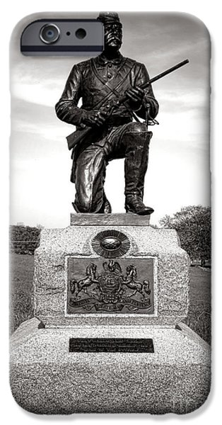 Brigade iPhone Cases - Gettysburg National Park 1st Pennsylvania Cavalry Monument iPhone Case by Olivier Le Queinec