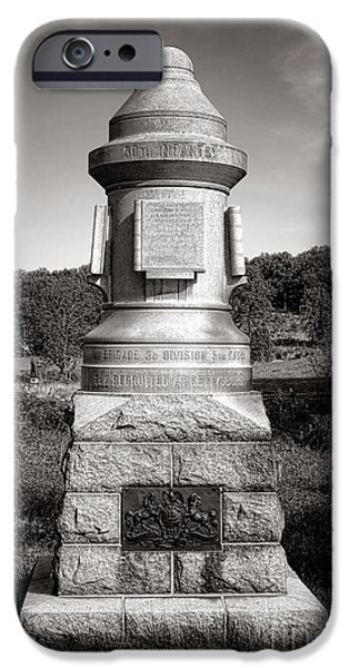 Regiment iPhone Cases - Gettysburg National Park 30th Pennsylvania Infantry Monument iPhone Case by Olivier Le Queinec