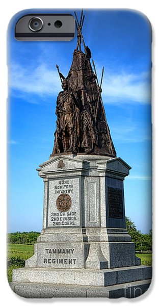 War iPhone Cases - Gettysburg National Park 42nd New York Infantry Memorial iPhone Case by Olivier Le Queinec