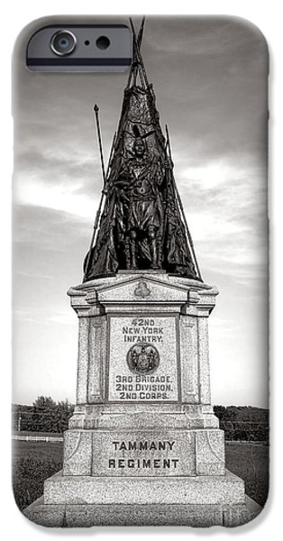 War iPhone Cases - Gettysburg National Park 42nd New York Infantry Monument iPhone Case by Olivier Le Queinec