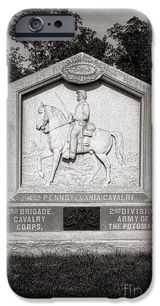 War iPhone Cases - Gettysburg National Park 4th Pennsylvania Cavalry Monument iPhone Case by Olivier Le Queinec