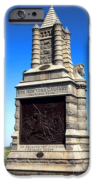 Regiment iPhone Cases - Gettysburg National Park 6th New York Cavalry Memorial iPhone Case by Olivier Le Queinec