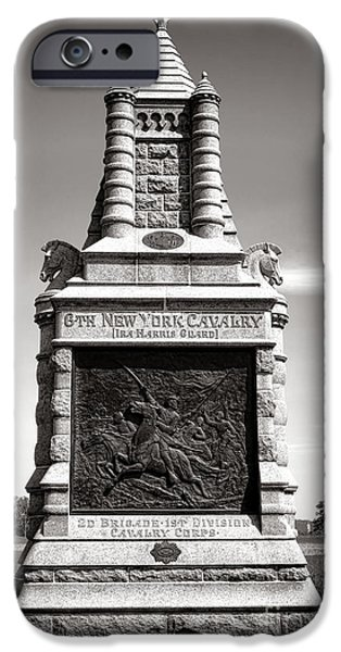 Regiment iPhone Cases - Gettysburg National Park 6th New York Cavalry Monument iPhone Case by Olivier Le Queinec
