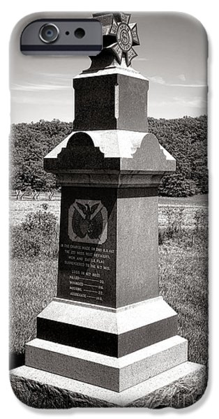 Regiment iPhone Cases - Gettysburg National Park 6th Wisconsin Iron Brigade Monument iPhone Case by Olivier Le Queinec