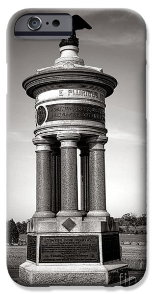 War iPhone Cases - Gettysburg National Park 71st and 72nd New York Infantry Monument iPhone Case by Olivier Le Queinec