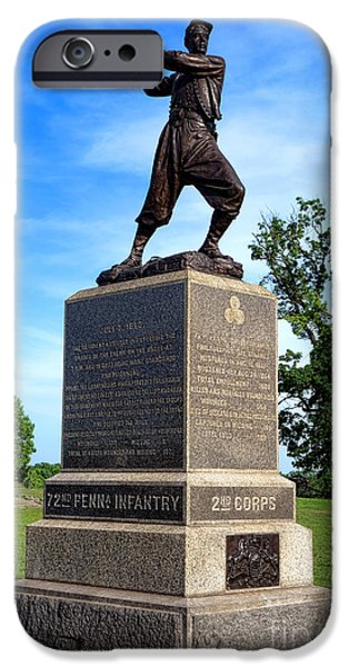 War iPhone Cases - Gettysburg National Park 72nd Pennsylvania Infantry Memorial iPhone Case by Olivier Le Queinec