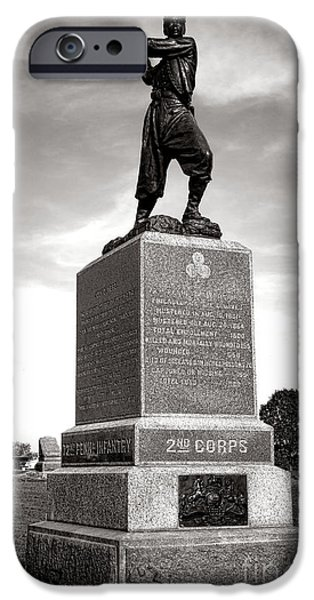 War iPhone Cases - Gettysburg National Park 72nd Pennsylvania Infantry Monument iPhone Case by Olivier Le Queinec