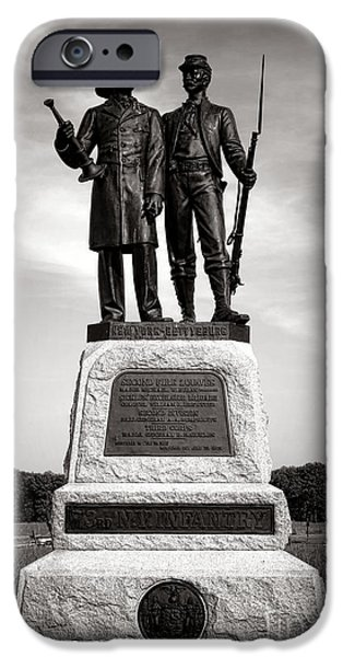 Regiment iPhone Cases - Gettysburg National Park 73rd NY Infantry 2nd Fire Zouaves Monument iPhone Case by Olivier Le Queinec