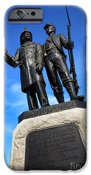 Brigade iPhone Cases - Gettysburg National Park 73rd NY Infantry Second Fire Zouaves Memorial iPhone Case by Olivier Le Queinec