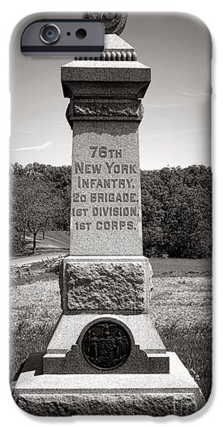 Brigade iPhone Cases - Gettysburg National Park 76th New York Infantry Monument iPhone Case by Olivier Le Queinec