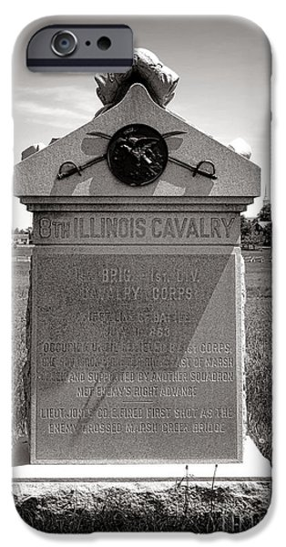 Regiment iPhone Cases - Gettysburg National Park 8th Illinois Cavalry Monument iPhone Case by Olivier Le Queinec