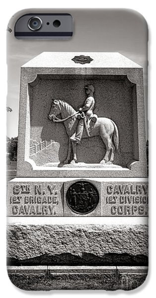 Brigade iPhone Cases - Gettysburg National Park 8th New York Cavalry Monument iPhone Case by Olivier Le Queinec