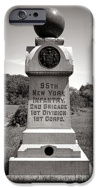 Brigade iPhone Cases - Gettysburg National Park 95th New York Infantry Monument iPhone Case by Olivier Le Queinec