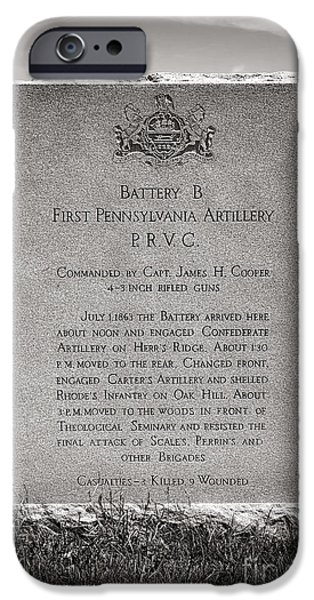 Artillery iPhone Cases - Gettysburg National Park First Pennsylvania Artillery Monument iPhone Case by Olivier Le Queinec