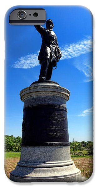 Regiment iPhone Cases - Gettysburg National Park James Samuel Wadsworth Memorial iPhone Case by Olivier Le Queinec