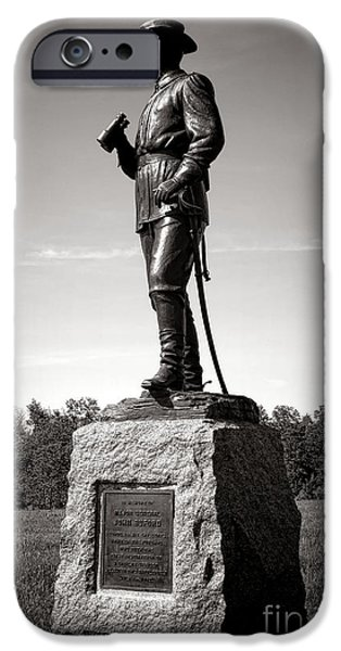 War iPhone Cases - Gettysburg National Park Major General John Buford Monument iPhone Case by Olivier Le Queinec