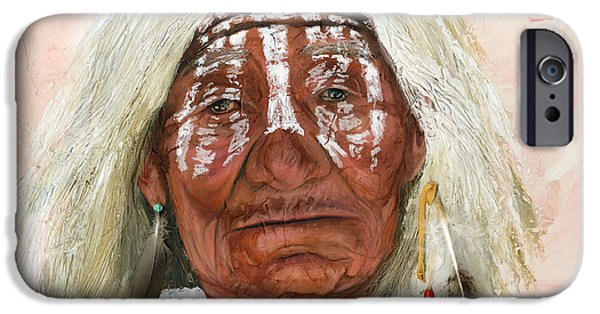 Native-american iPhone Cases - Ghost Shaman iPhone Case by J W Baker