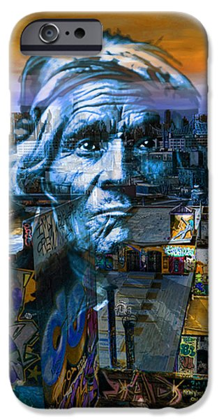 The Hills Mixed Media iPhone Cases - Ghost Tribe Native Americans in New York Blue iPhone Case by Tony Rubino