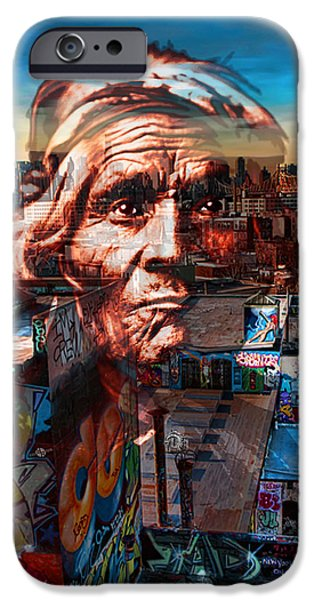 The Hills Mixed Media iPhone Cases - Ghost Tribe Native Americans in New York Red iPhone Case by Tony Rubino