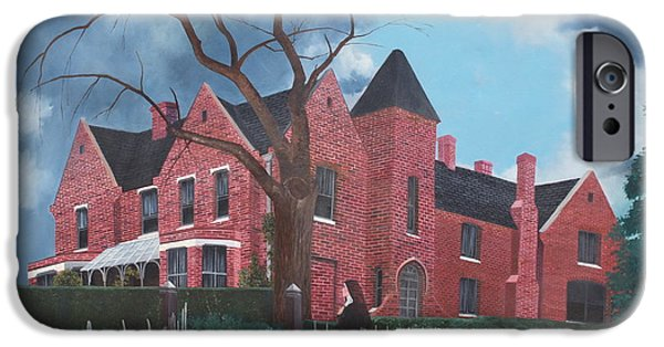 Haunted House Paintings iPhone Cases - Ghostly Nun of Borley Rectory iPhone Case by Barbara Barber
