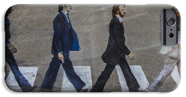 Crosswalk iPhone Cases - Ghosts of Abby Road iPhone Case by Debra and Dave Vanderlaan
