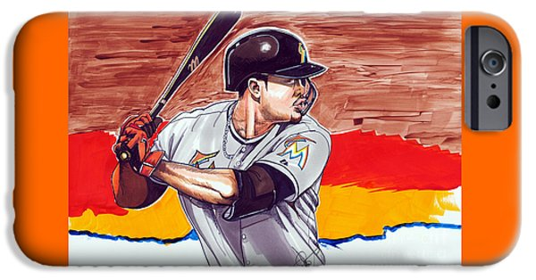 Mlb Drawings iPhone Cases - Giancarlo Stanton iPhone Case by Dave Olsen