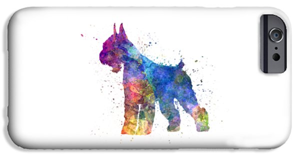 Dogs iPhone Cases - Giant Schnauzer 01in watercolor iPhone Case by Pablo Romero