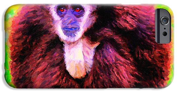 Ape Digital Art iPhone Cases - Gibbon . Photoart iPhone Case by Wingsdomain Art and Photography
