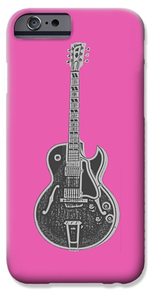 Electric Drawings iPhone Cases - Gibson ES-175 Electric Guitar Tee iPhone Case by Edward Fielding