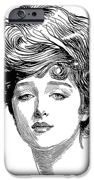 1900 iPhone Cases - Gibson: Gibson Girl, 1900 iPhone Case by Granger