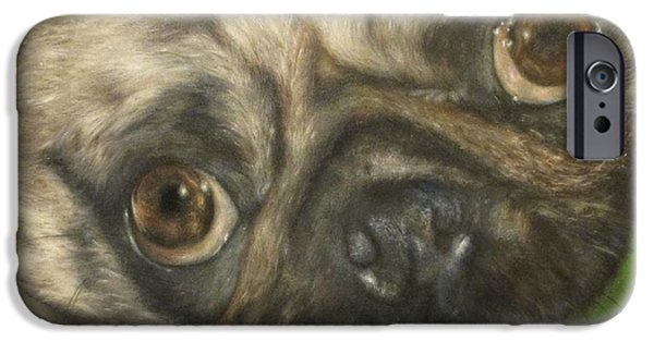 Dog Close-up Paintings iPhone Cases - GidgeT iPhone Case by Cherise Foster