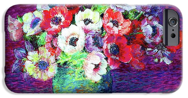 Vase iPhone Cases - Gift of Anemones iPhone Case by Jane Small