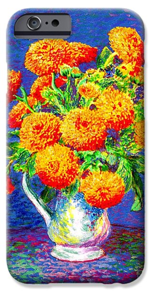 Floral Still Life Paintings iPhone Cases - Gift of Gold iPhone Case by Jane Small