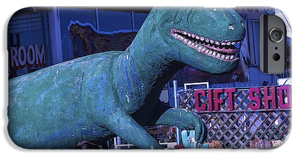 Dinosaur iPhone Cases - Gift Shop Dinosaur Route 66 iPhone Case by Garry Gay