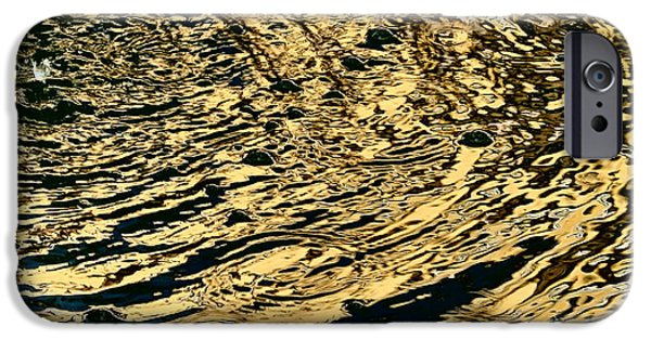 Modern Abstract iPhone Cases - Gilded Water - Golden Wavelets iPhone Case by Elena Schaelike