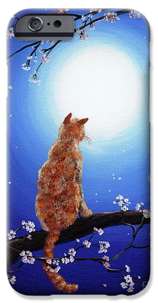 Orange Tabby Paintings iPhone Cases - Ginger Cat in Blue Moonlight iPhone Case by Laura Iverson