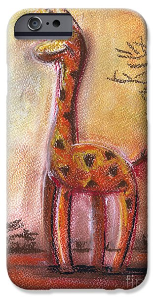 For Children Pastels iPhone Cases - Giraffe For Children Pastel Chalk Drawing iPhone Case by Frank Ramspott
