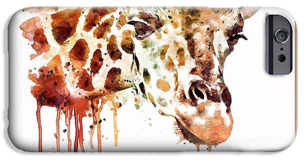 Giraffe Digital iPhone Cases - Giraffe Head iPhone Case by Marian Voicu