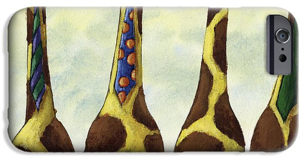 Wall Drawings iPhone Cases - Giraffe Neckties iPhone Case by Christy Beckwith