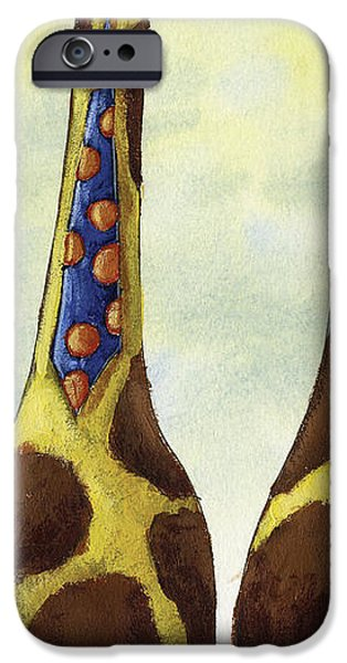 Giraffe Neckties iPhone Case by Christy Beckwith