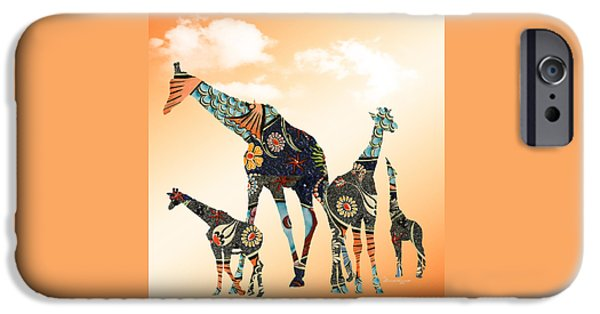 Abstract Digital Mixed Media iPhone Cases - Giraffe Stroll iPhone Case by EricaMaxine  Price