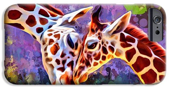 Digital Designs iPhone Cases - Giraffes Embrace Portrait iPhone Case by Scott Wallace