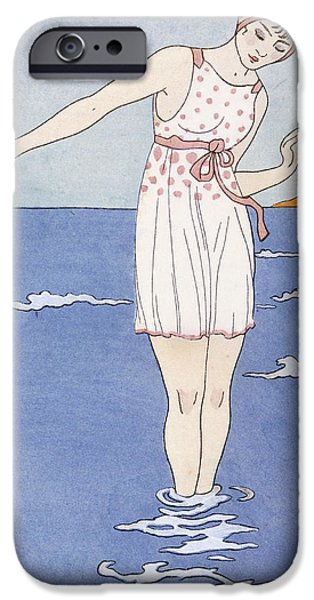Bathing Drawings iPhone Cases - Girl at the Beach iPhone Case by Georges Barbier