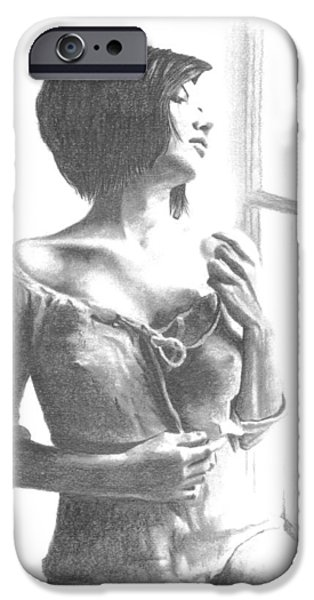 Figures iPhone Cases - Girl at Window iPhone Case by Duane Isaacson